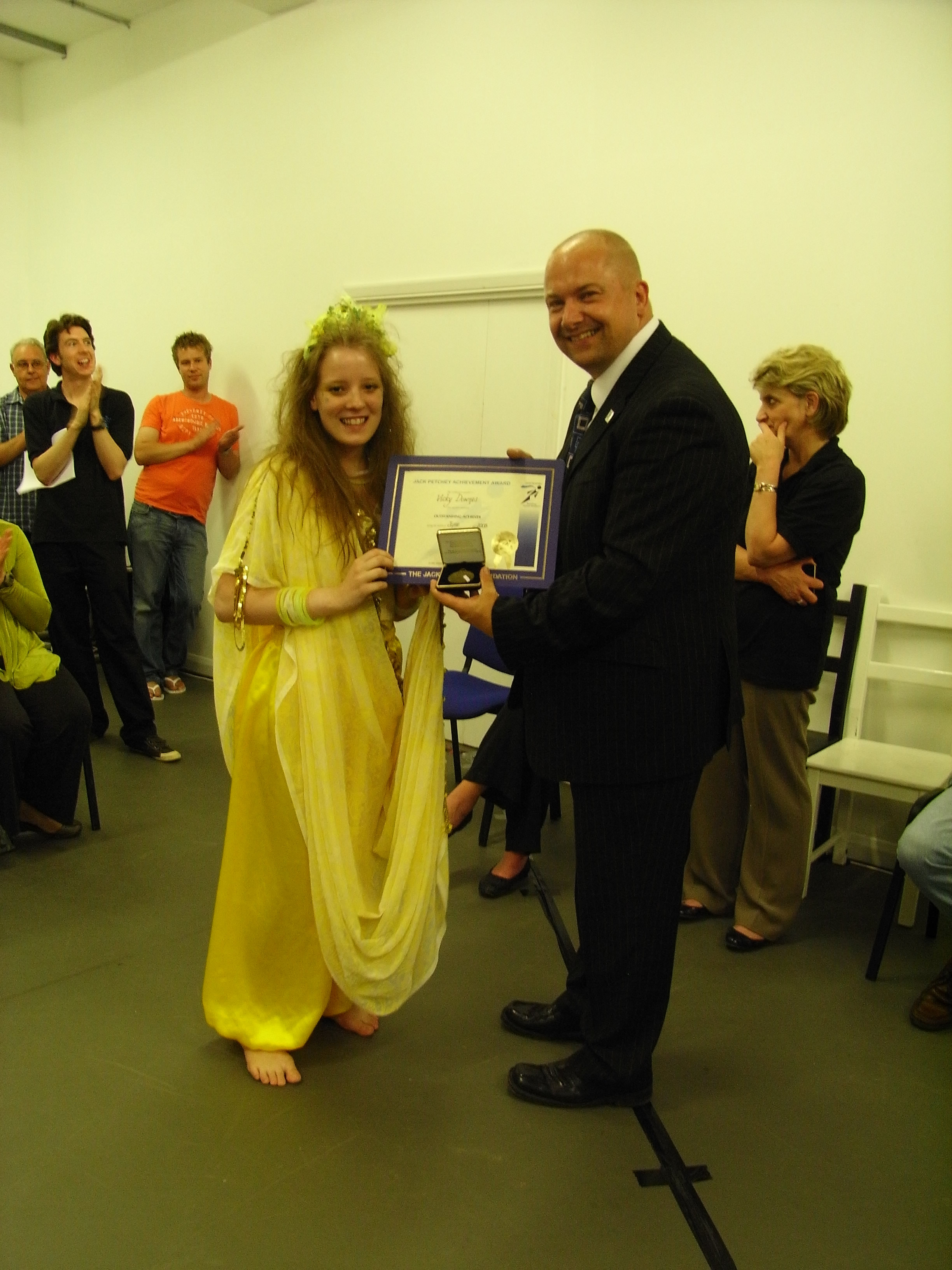 Chris Bullock presents JPF Award to B&D Youth Theatre member Vicky Downes